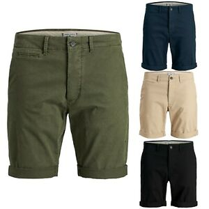 Mens-Jack-amp-Jones-Regular-Fit-chino-shorts-Turn-up-Summer-Casual-Half-Pant-6178