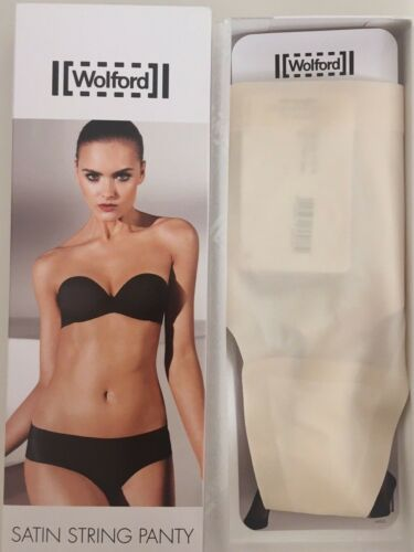 L large cream white WOLFORD SATIN STRING PANTY thong underwear in BLANC CASSE