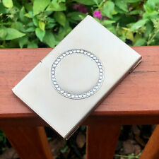 Rhinestone Pocket Stainless Steel Amp Metal Business Card Holder Case Id Credit