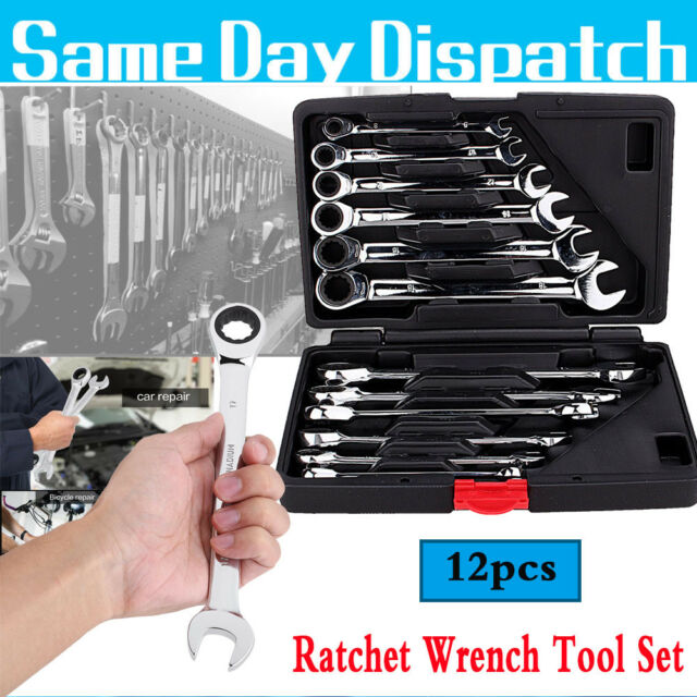 12PCS Spanner Set Combination Torque Wrench Keys Flexible Head Ratchet Garage