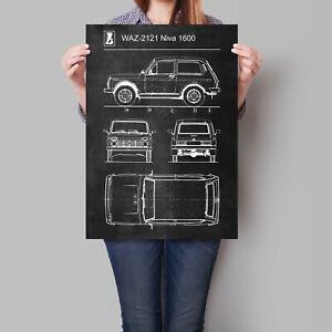 Lada Niva 1600 Car Poster Retro Patent Blueprint Art Print