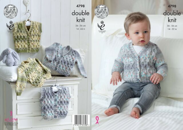 Baby KNITTING PATTERN Baby Cable Cardigan Jumper and Slipover DK King Cole 4905