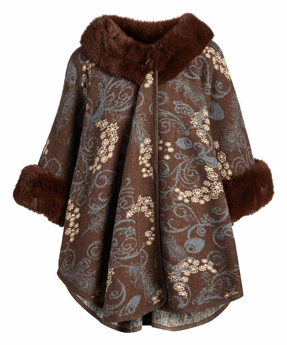 Women Brown Faux Fur Trimmed Cardigan Sweater Oversized Poncho Cape Ruana Nwt