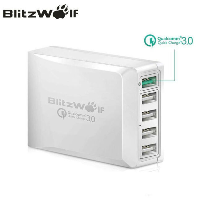 BlitzWolf BW-S7 QC3.0 Qualcomm Quick Charge 5 USB Ports Travel Charger Adapter