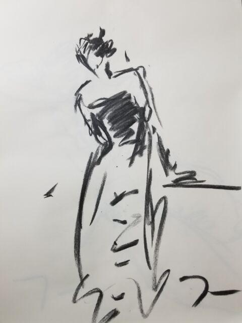 JOSE TRUJILLO - Original Charcoal on Paper Sketch Drawing 18X24 Fashion Figure