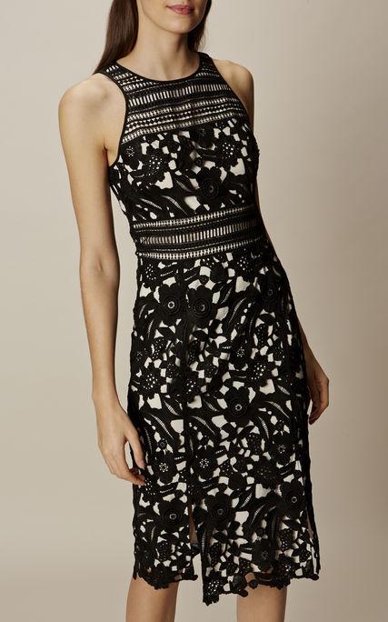 KAREN MILLEN Ultra Raro  Todo de Encaje Floral Negro Noche Vestido Lápiz 14 BNWT  venta mundialmente famosa en línea