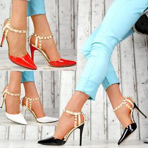 Das Bild wird geladen Neu-Damenschuhe-Pumps-Lack-Spitze-Schuhe-Party-High- 7b0398fd36