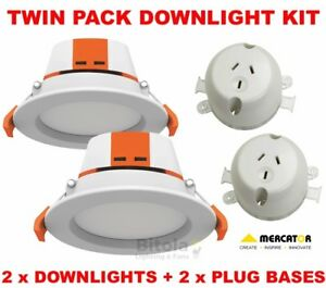 TWIN-PACK-KIT-2-x-MERCATOR-APOLLO-CCT-9W-LED-DOWNLIGHT-PLUG-BASE-SOCKET-OUTLET
