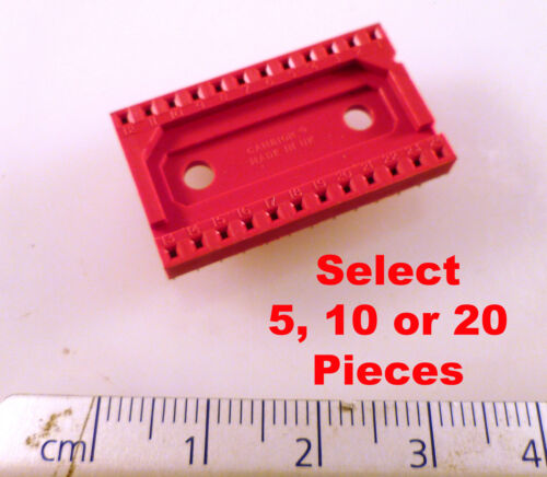 Cambion 703-4024-01-04-12 DIL IC Socket 24 Pin Red Closed Frame OMA090A