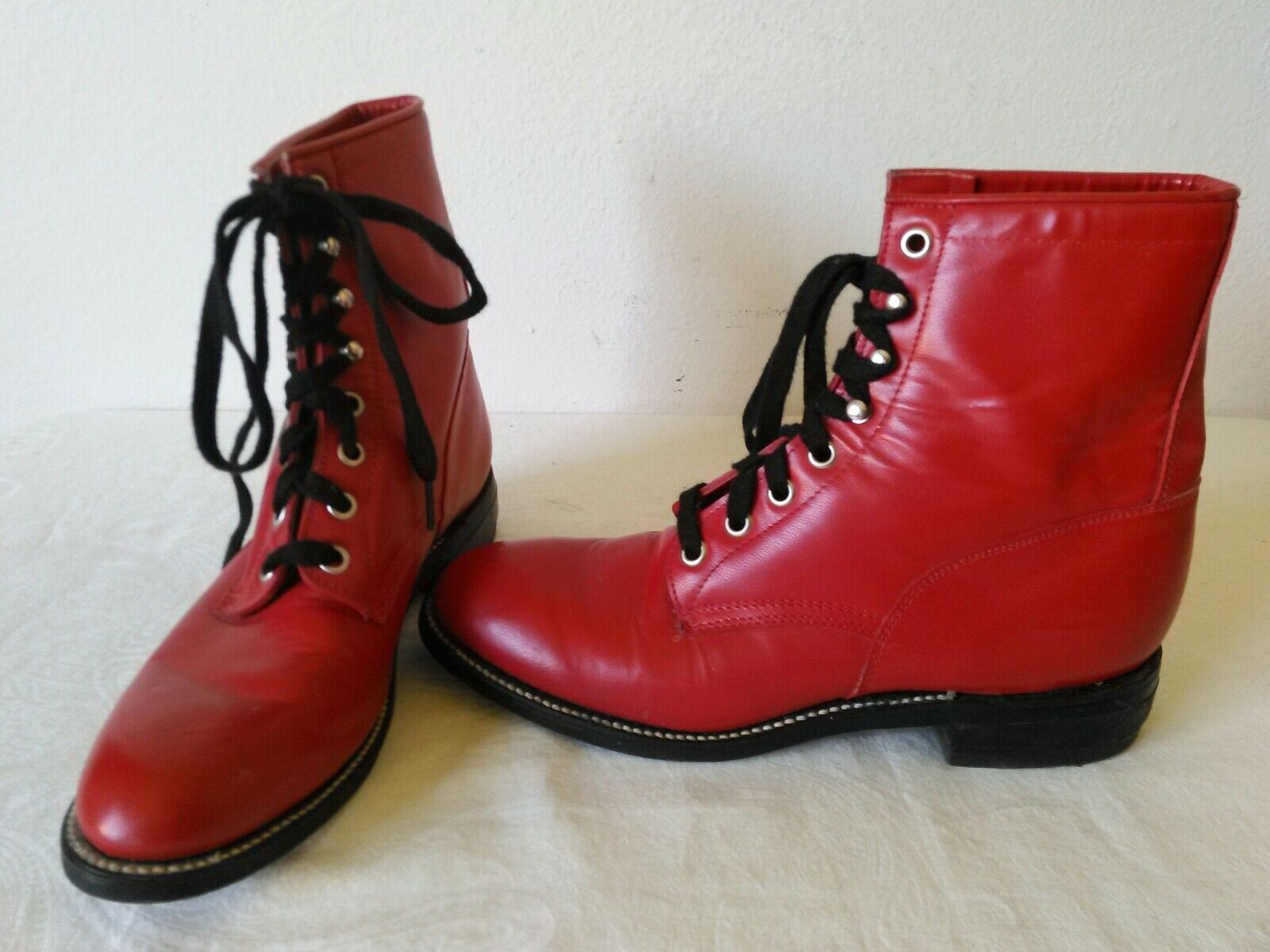 Great JUSTIN rosso lace-up leather Lady's Cowgirl Roper Western stivali Dimensione 5 B