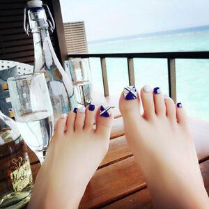 24pcs Pack Blue False Nails Toe Nails Tips Nail Art Design French