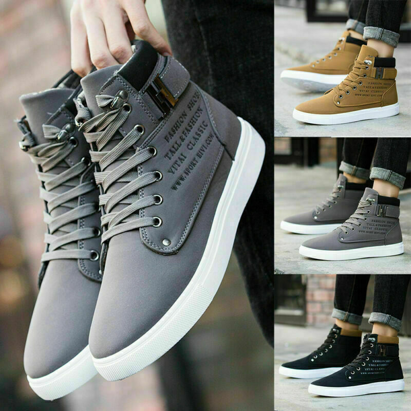 MENS LACE UP FLAT CASUAL HI HIGH TOP TRAINERS SNEAKERS SHOES ANKLE BOOTS SIZE==
