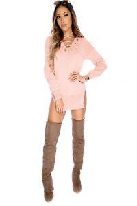 watch 76811 c65dd Dettagli su - Maglia Lunga Vestito Donna M 44 rosa salmone Mini Abito  cipria corsetto top