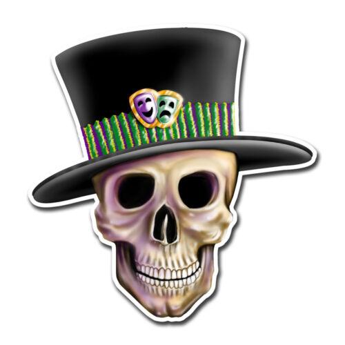 Mardi Gras Skull sticker top hat jester decal for car bumper laptop cooler glass