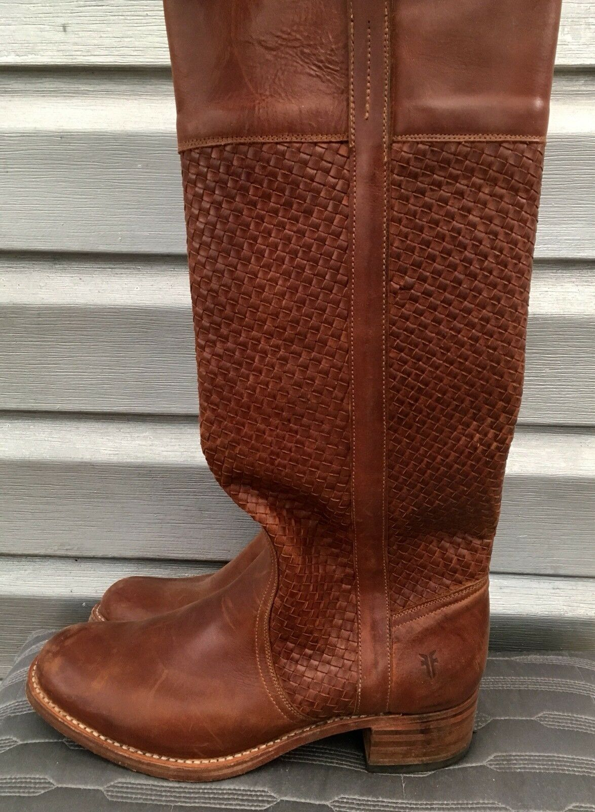 FRYE Samantha Brown Woven Leather Knee High Basket Weave Boots SOLD OUT