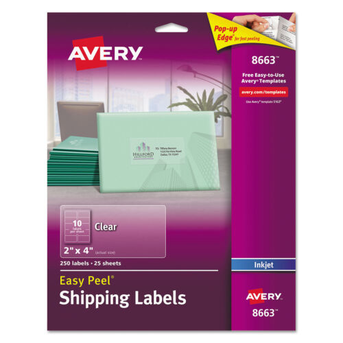 Avery Clear Easy Peel Shipping Labels Inkjet 2 x 4 250Pack 8663