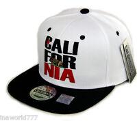 California Republic Hat Embroidered Snapback Baseball Cap Flat Bill White/black