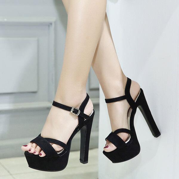 Sandalei stivali eleganti tacco plateau  14 cm cm 14 nero simil pelle eleganti 9392 2ab438