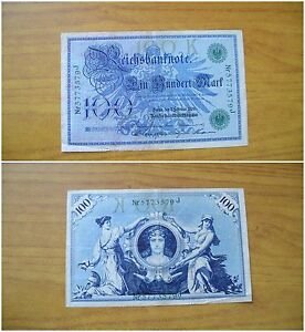 BANCONOTA-GERMANIA-REICHSBANKNOTE-100-MARK-1908-BERLIN-SUBALPINA