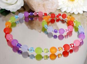 2er-Set-Collier-u-Armband-Polaris-Effekt-Perlen-Wuerfel-Regenbogen-bunt