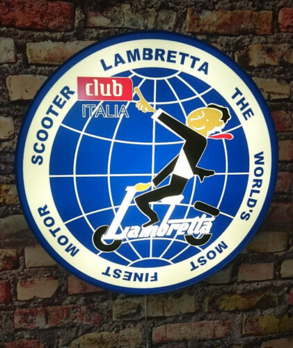 LAMBRETTA Globe illuminated sign,,,mancave,workshop,shed,house