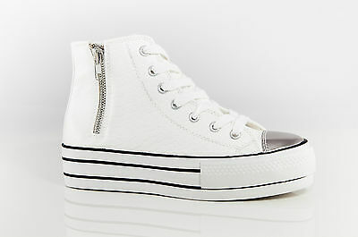 Ladies Shoes Inniu Catwalk Sneaky White Platform Flatform School Sneaker Creeper