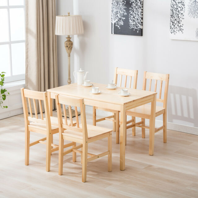 Natural Pine Wood Dining Table And 4 Chairs Room Set Kitchen Breakfast  Furniture