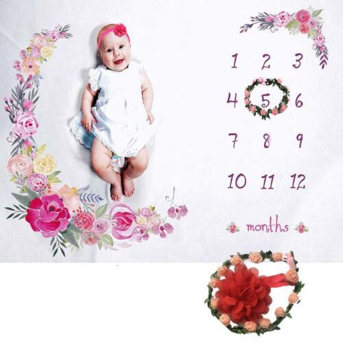 Weiche Fotografie Hintergrund Decke Baby monatliche Decke Blumenkranz Stirnband