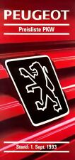 Peugeot Preisliste 1.9.93 price list 1993 106 205 306 309 405 605 Auto PKWs