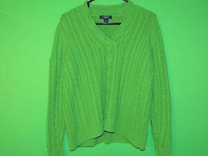 Chaps-Ralph-Lauren-Women-039-s-Size-L-Large-Green-Cable-Knit-Sweater-Sweatshirt