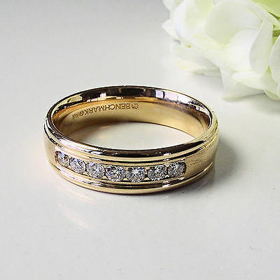 Super Men's 14k Yellow Gold 6mm Channel .42 Ct Genuine Diamond Band Ring Size 11