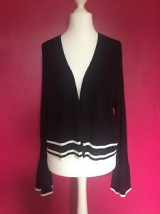 PER-UNA-BLACK-WHITE-RIPPED-CARDIGAN-WITH-LONG-BELL-SLEEVES-SZ16-RRP-39-50