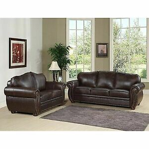 Pleasant Abbyson Living Berkeley Brown Italian Leather Loveseat And Sofa Set Ci D320 Brn 3 2 Caraccident5 Cool Chair Designs And Ideas Caraccident5Info