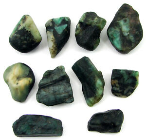 300-00-Ct-Natural-Raw-Green-Emerald-Loose-Gemstone-Rough-Crystal-10-Pc-Lot-10977