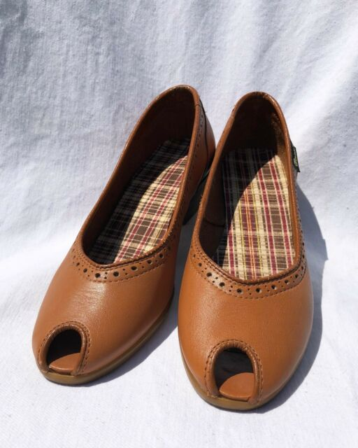 Vintage BASS Peep Toe Wedge Light Brown Women's Size 7