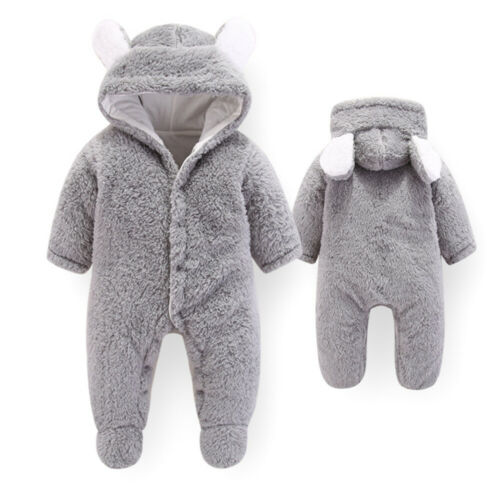 Newborn Baby Kids Girl Boy Hooded Romper Jumpsuit Winter Warm Outfits Clothes