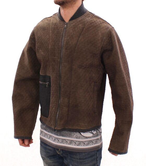 S RRP $10400 DOLCE /& GABBANA Jacket Brown Leather Biker Coat Giacca EU46 //US36