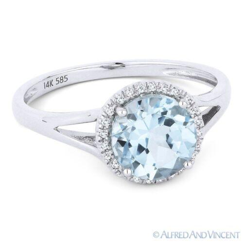 1.67 ct Aqua-Blue Topaz /& Diamond Halo Promise Engagement Ring in 14k White Gold