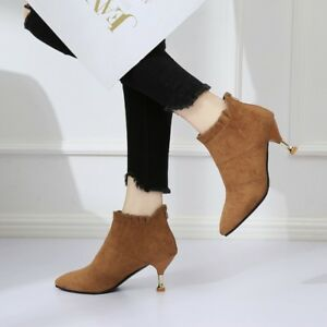Elegant-Womens-Ruffle-Ankle-Boots-Pointed-Toe-Kitten-Heel-Suede-Booties-Size-8