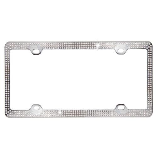 Clear 3-Row Bling Crystal Chrome Metal Car License Plate Frame