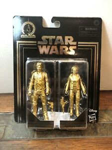 Star Wars Commemorative Edition Skywalker Saga Han Solo /& Leia Gold Figure Pack