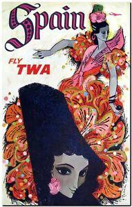 "Cool Retro Travel Poster *FRAMED* CANVAS ART Spain TWA dancer 20x16"""