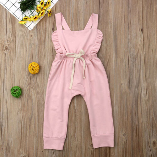 US Cute Newborn Baby Girl Clothes Bib Pants Romper Overalls Coming Home Outfit S