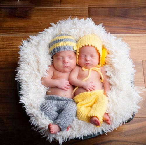 Neugeborene Baby Zwillinge Junge /& Mädchen Strick Kostüm Foto Fotografie Prop