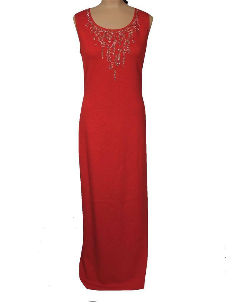 NWT ST. JOHN Knits Matador Red Santana Knit Sequined Dress Gown sz 10  1830