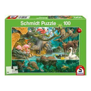 Schmidt-Spiele-Tierfamilien-am-Ufer-100-Teile-Kinderpuzzle-Puzzle-Steckpuzzle