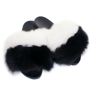 genuine white black fox fur slides new slippers with fur sandals
