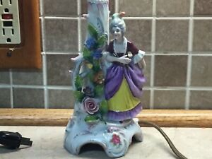 Antique-German-Porcelain-Lamp-Lady-With-Flowers-Paper-Lampshade-With-Ladies