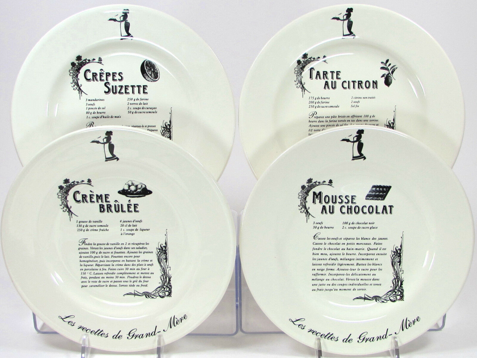Kiss That Frog LES RECETTES DE GRAND-MERE 8  Dessert Plate Set 4Pc Crepes Mousse