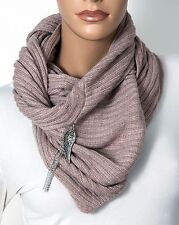 Donni Charm Embrace Scarf cotton/angora w/ tassel and wing charm in Tan
